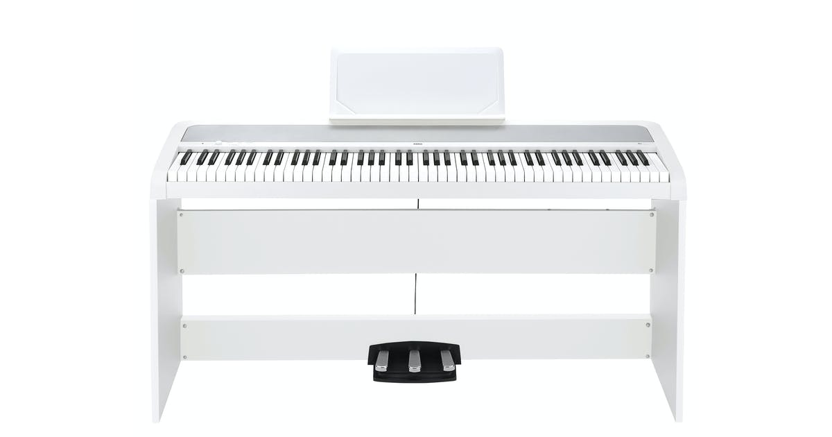 korg b1sp digital piano in white w stand 3 pedal unit andertons music co. Black Bedroom Furniture Sets. Home Design Ideas