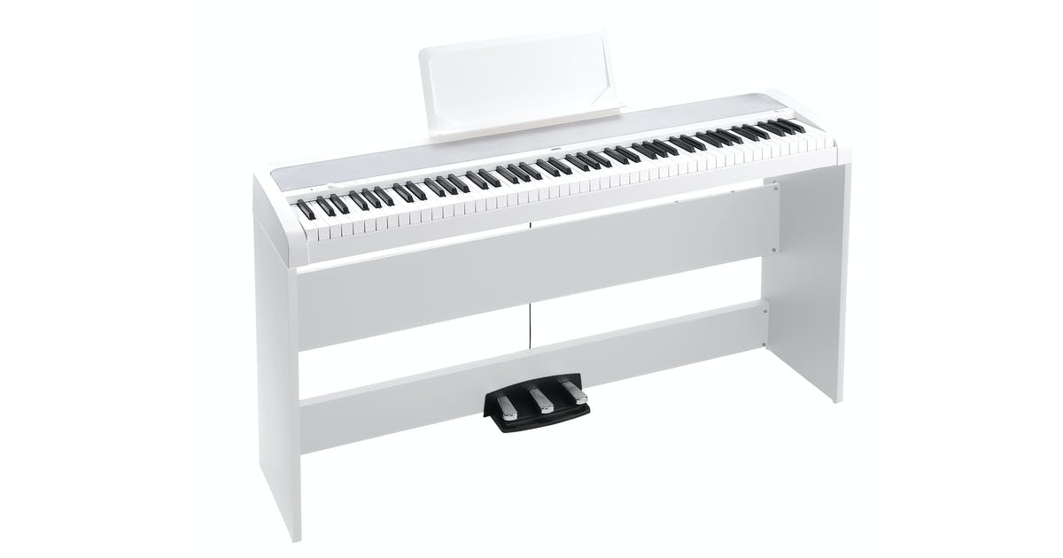 korg b1sp digital piano in white w stand 3 pedal unit headphones and stool andertons music co. Black Bedroom Furniture Sets. Home Design Ideas