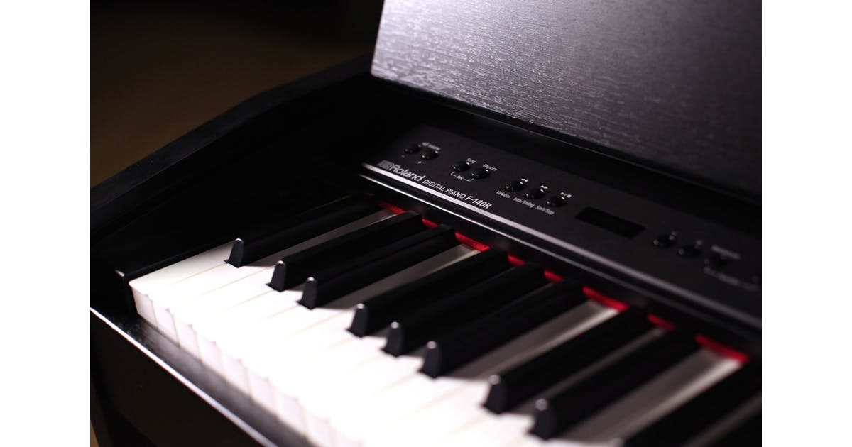 roland f140r cb digital home piano in contemporary black andertons music co. Black Bedroom Furniture Sets. Home Design Ideas