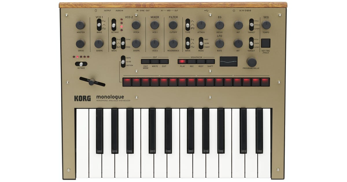 korg monophonic analog synthesizer in gold andertons music co. Black Bedroom Furniture Sets. Home Design Ideas