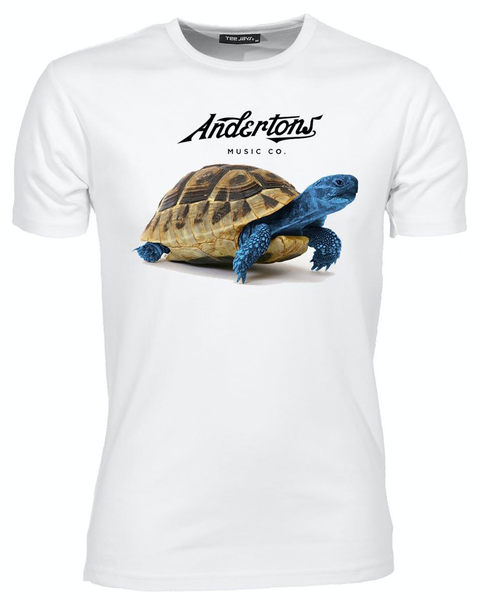 Warning turtles amp tortoises inc - Andertons Blue Tortoise Logo T Shirt In White Large Andertons Music Co