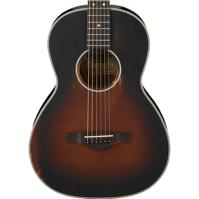 Ibanez AVN11 ABS Artwood Vintage Thermo Aged Acoustic Guitar In Antique Brown Sunburst Semi
