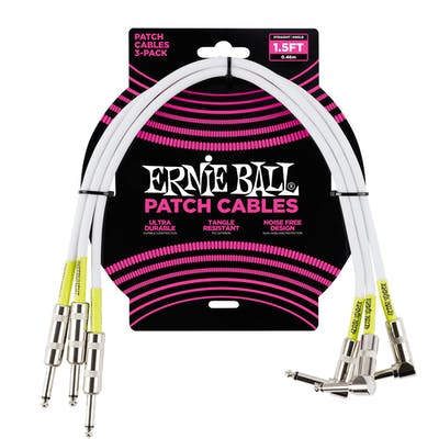 Ernie Ball 1.5ft Straight/Angle Patch Cable in White, 3-pack
