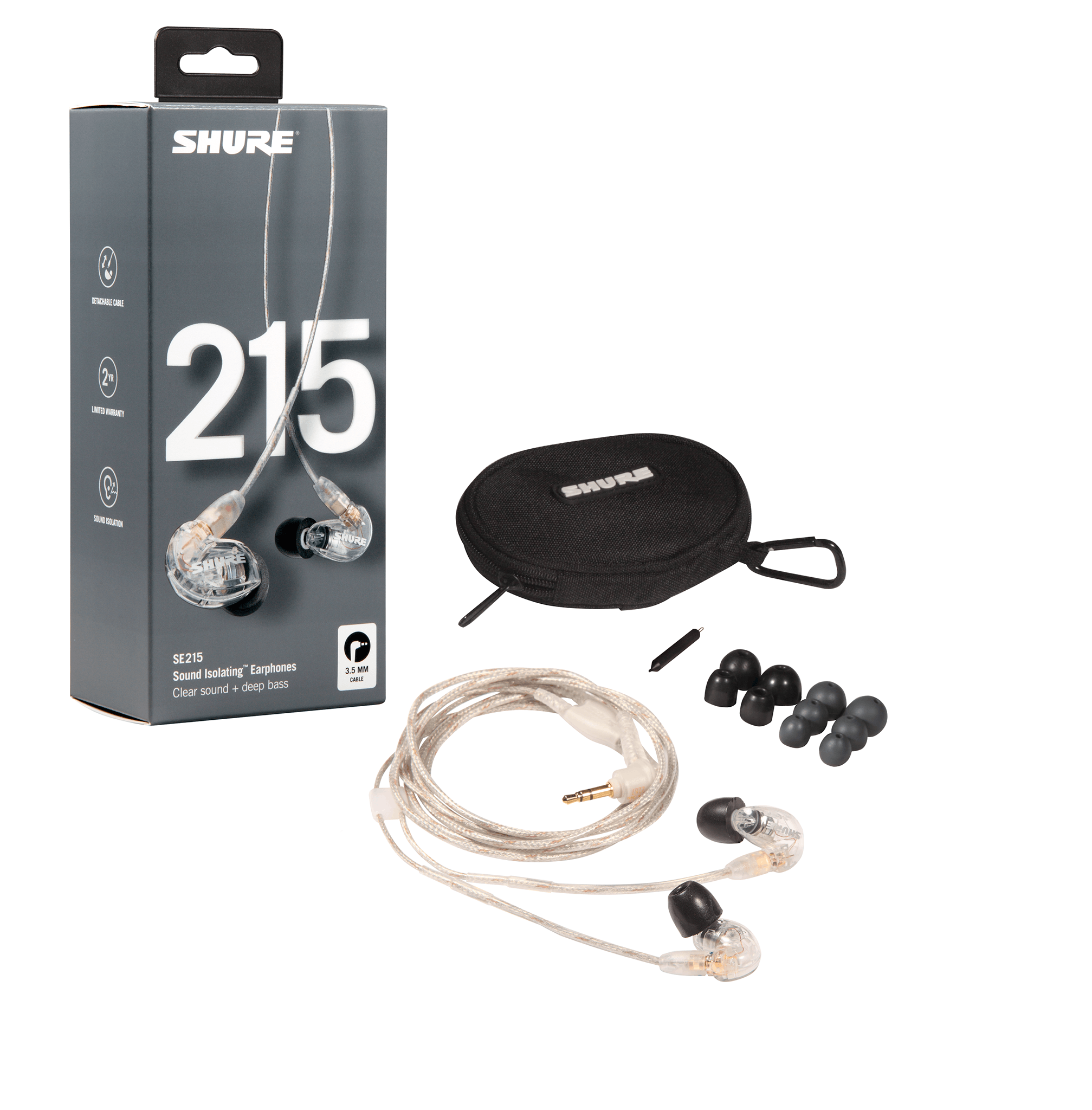 c23099f82 Shure SE215 Sound Isolating Earphones in Clear - Andertons Music Co.