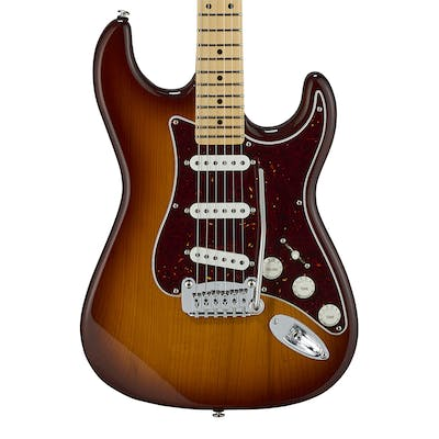G&L USA Fullerton Deluxe Legacy in Old School Tobacco Sunburst w/ Maple Fingerboard