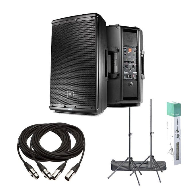 JBL PA Bundle - JBL1627 Speakers x 2, XLR Cables x 2 and Heavy Duty Stands  - Andertons Music Co