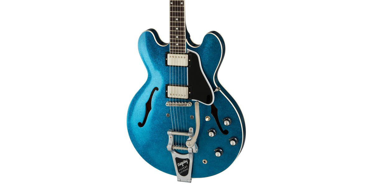 gibson memphis 2019 mod series 1961 es 335 w bigsby in blue sparkle andertons music co. Black Bedroom Furniture Sets. Home Design Ideas