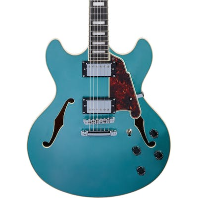 D'Angelico Premier DC Doublecut Semi-hollow Stopbar in Ocean Turquoise