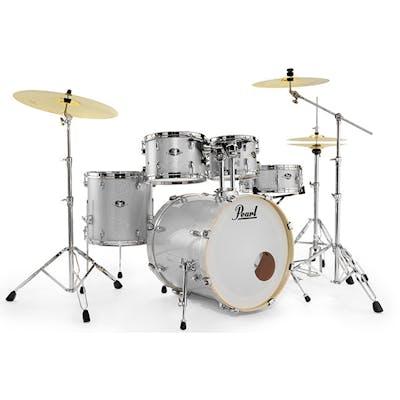 Pearl Drums Export Kit 10x7, 12x8, 14x14, 20x16, 14x5 5SD in Arctic Sparkle  w/830 HW & Three Piece Sabian Cymbal Set -