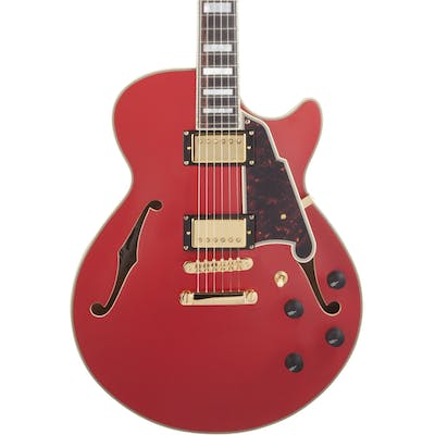 D'Angelico Deluxe SS Singlecut Semi-Hollow Stopbar in Matte Cherry