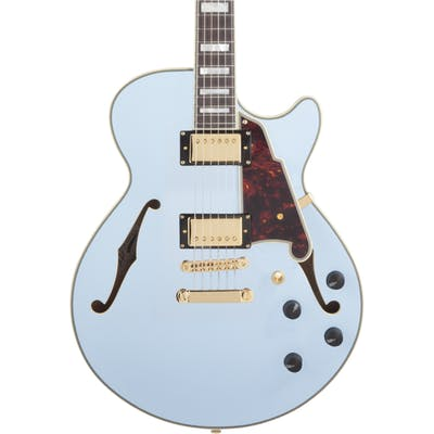 D'Angelico Deluxe SS Singlecut Semi-Hollow Stopbar in Matte Powder Blue