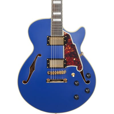 D'Angelico Deluxe SS Singlecut Semi-Hollow Stopbar in Matte Royal Blue