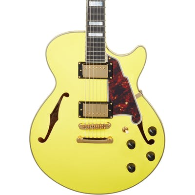 D'Angelico Deluxe SS Singlecut Semi-Hollow Stopbar in Matte Electric Yellow