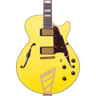 D'Angelico Deluxe SS Singlecut Semi-Hollow in Matte Electric Yellow