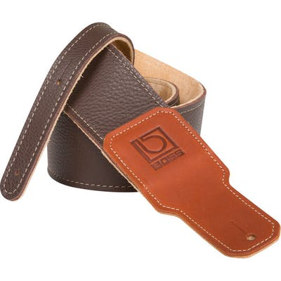 Boss 3 inch brown premium leather guitar strap