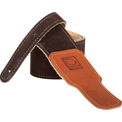 Boss 2.5 inch brown suede guitar strap