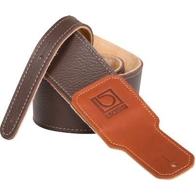 Boss 2.5 inch brown premium leather guitar strap