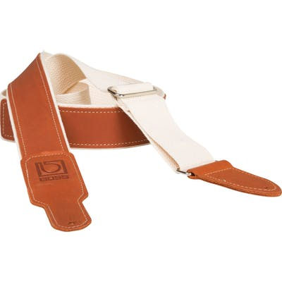 Boss 2 inch natural cotton with brown leather hybrid guitar strap