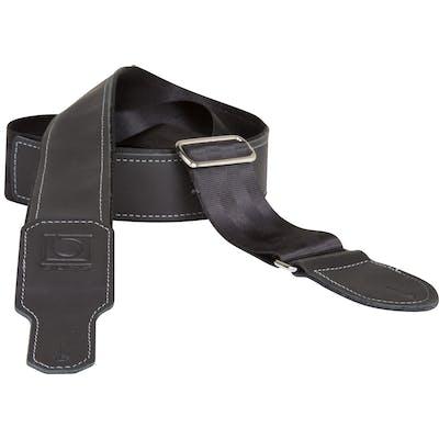 Boss 2 inch black seatbelt with black leather hybrid guitar strap