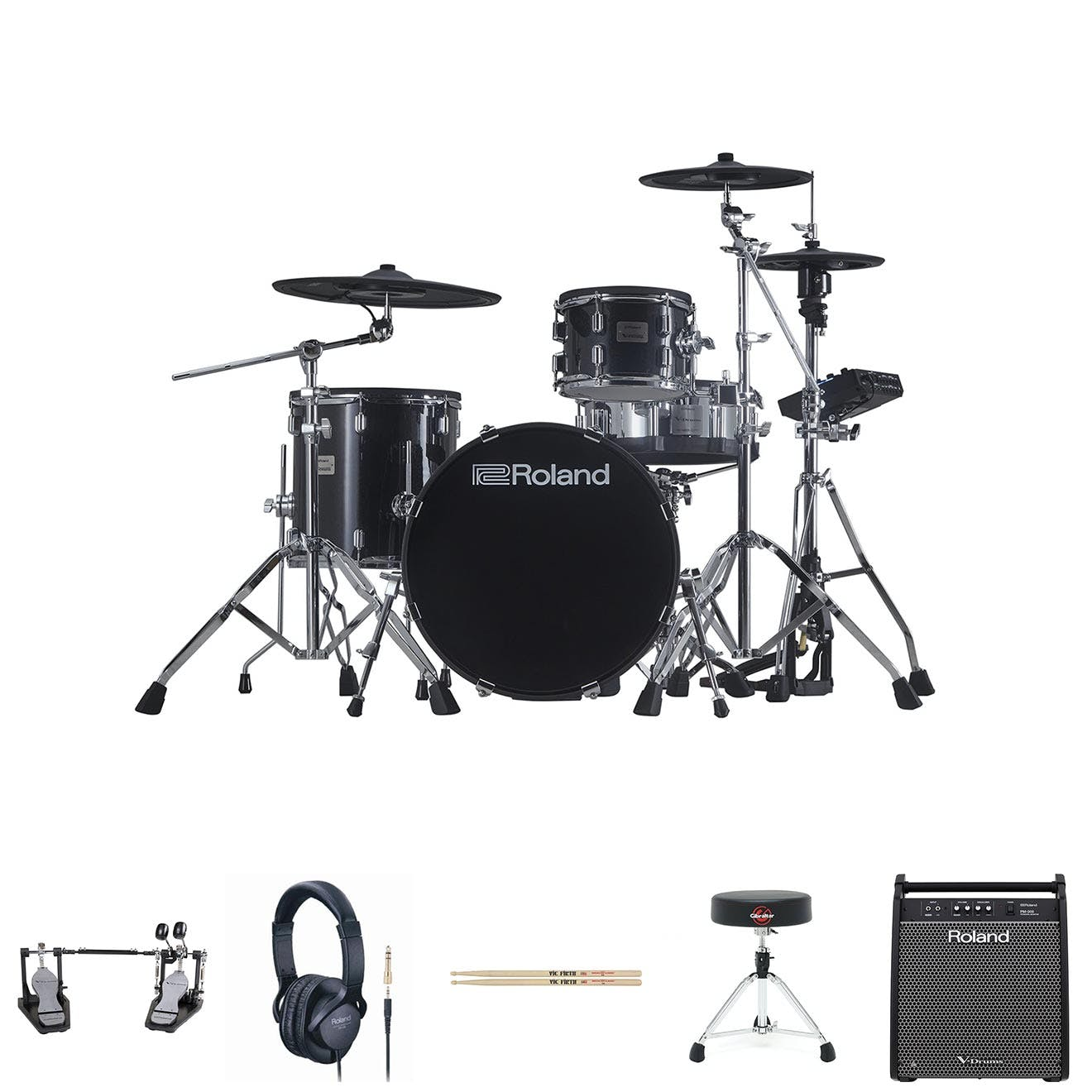 Image for Roland VAD503 w/ PM100, Double Pedal, HH Stand, Snare Stand, Sticks, Stool & Headphones from Andertons Music Co.