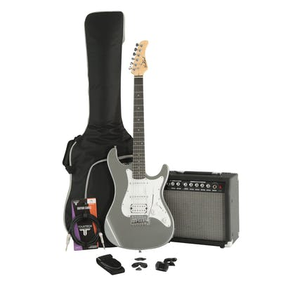 EastCoast GS100H Slick Silver Electric Guitar Bundle with Amp & Accessories
