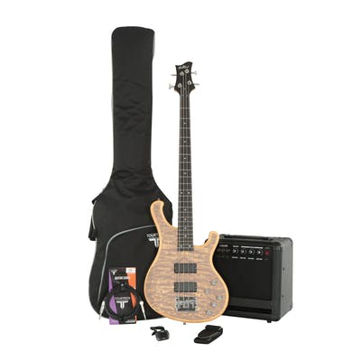 Eastcoast B210 Natural Satin Bass Bundle with amp and accessories