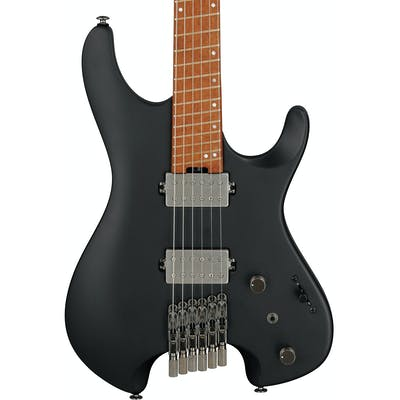 Ibanez QX52-BKF Q Series Headless Electric Guitar HH in Black Flat with Slanted Frets