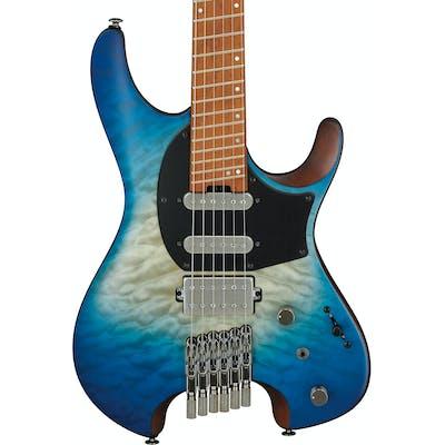 Ibanez QX54QM-BSM Q Series Headless Electric Guitar HSS in Blue Sphere Burst Matte with Slanted Frets