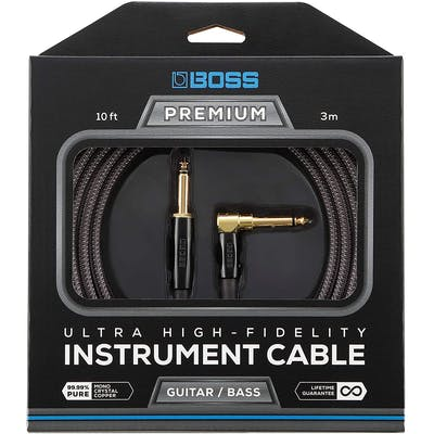 Boss BIC-P10A 3 Metre Instrument Cable with Straight to Angled Jack