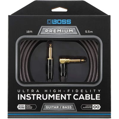Boss BIC-P18 5 1/2 Metre Instrument Cable with Straight to Angled Jack