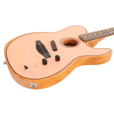 Fender FSR American Acoustasonic Telecaster Acoustic/Electric Guitar in Shell Pink