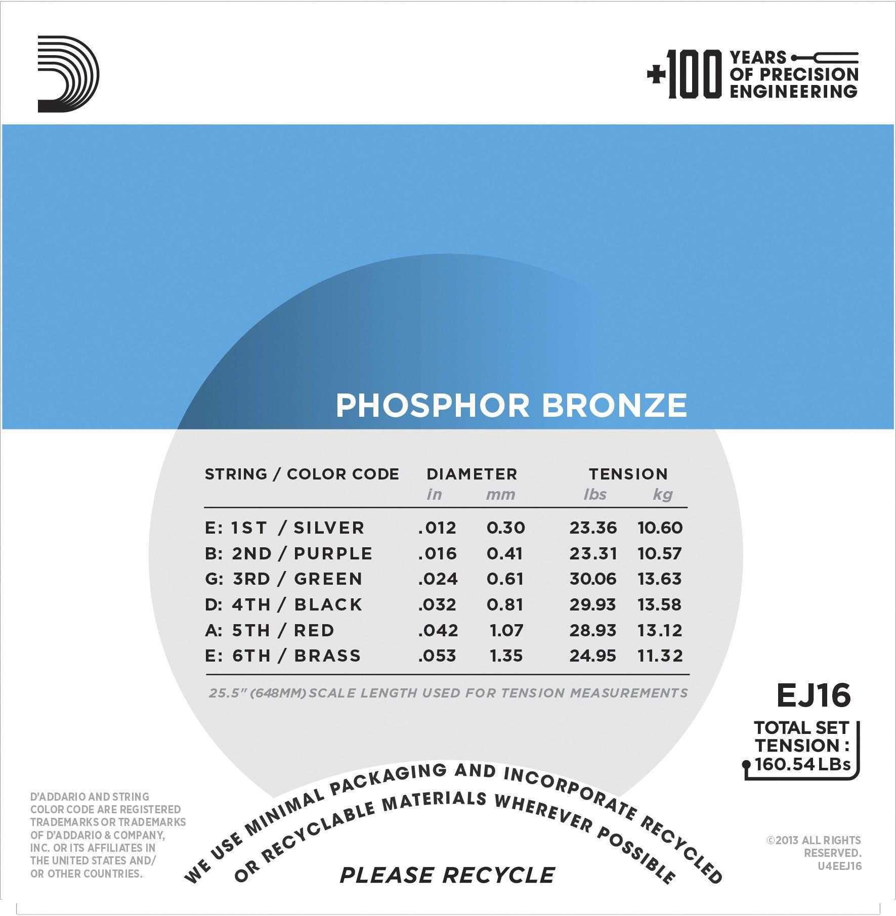 D\'Addario EJ16 Phosphor Bronze 12-53 Light Set - Andertons Music Co.