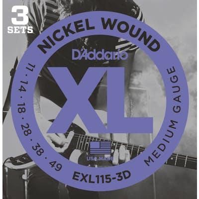 D'Addario XL 11-49 3 Pack Blues/Jazz Rock Set