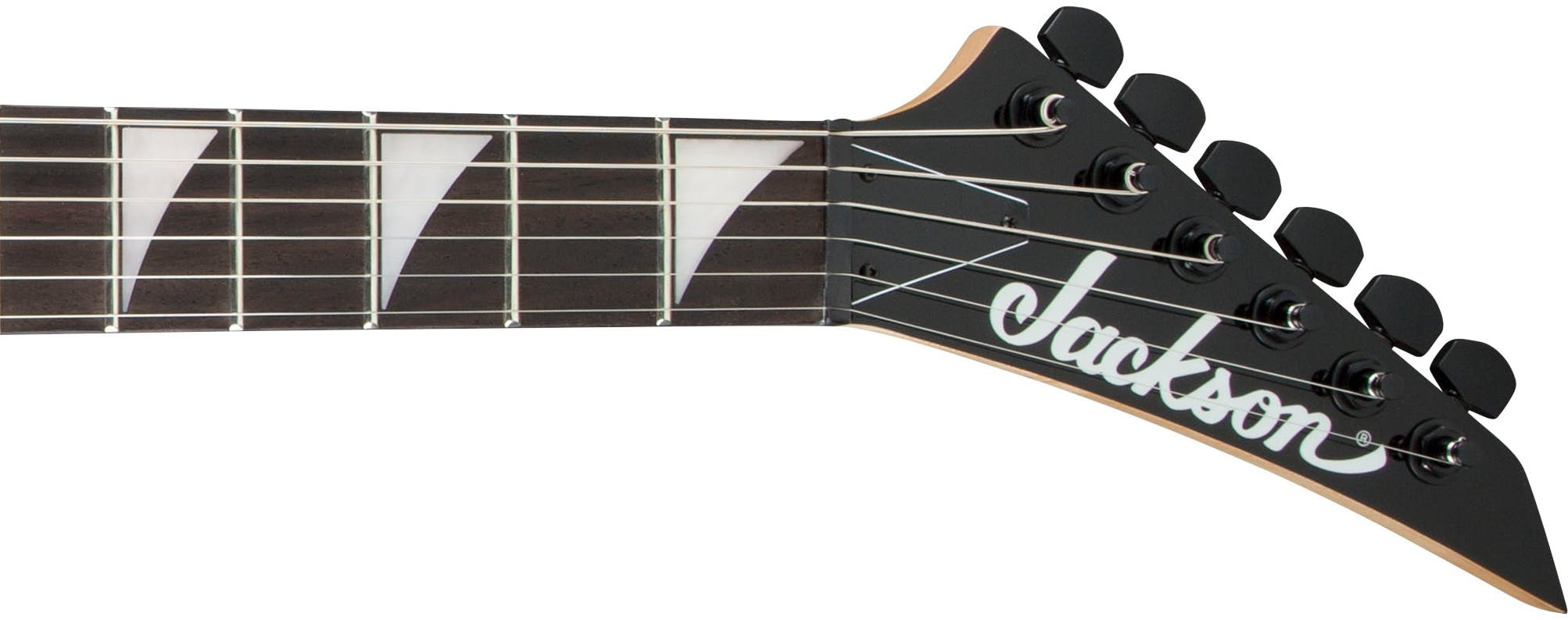 A Jackson Headstock: not a single string passes through its (non-locking) nut without deviation.
