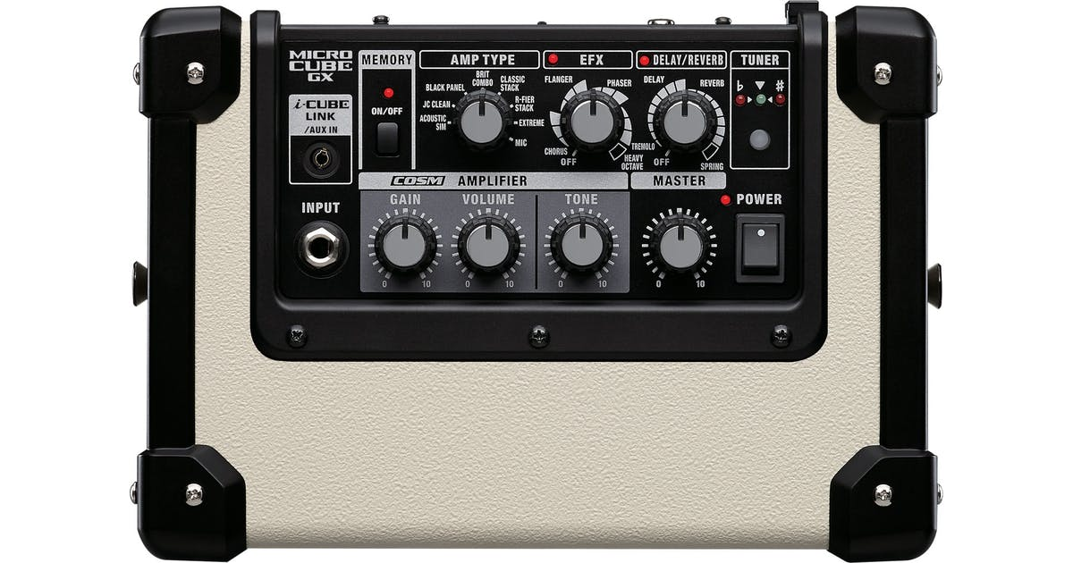 Roland Micro Cube GX Guitar Amp in White - Andertons Music Co